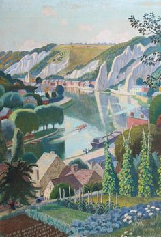 Adrian Paul Allinson (British, 1890-1959) The River Ouse at Lewes, Sussex.
