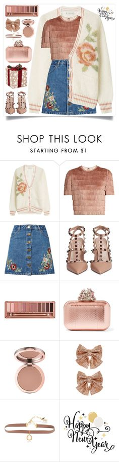 """Happy New Year"" by itsybitsy62 ❤ liked on Polyvore featuring Mes Demoiselles..., Raey, Miss Selfridge, Valentino, Urban Decay, Jimmy Choo, Monsoon, Lonna & Lilly and rosegold"