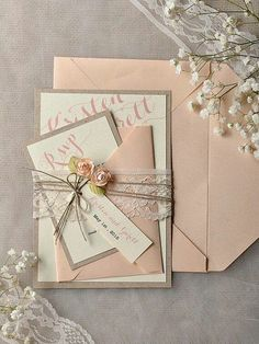 romantic wedding invitations, pastels, pink, off white, flowers, lace