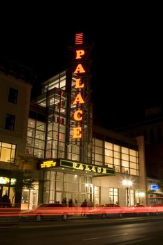 The Palace Theatre Stamford's Blade Sign at night