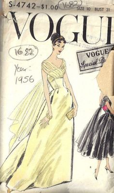 41e529064c 1956 Vintage VOGUE Sewing Pattern B31 DRESS (1682)