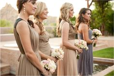 @Four Seasons Resort Scottsdale at Troon North bridesmaids were so stylish in flattering shades of taupe and dove gray.