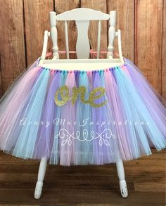 High Chair Tutu, Pink and Aqua Highchair tutu, Pastel Carousel High Chair Banner, Girls First Birthday Smash Cake Party, Chair Cover, 1st by AvaryMaeInspirations on Etsy