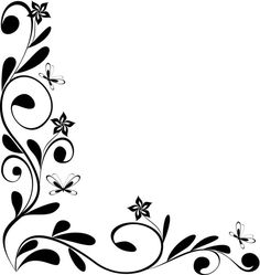 Simple Flower Border Designs To Draw - Clipart library Boarder Designs, Page Borders Design, Corner Drawing, Flower Border Clipart, Motif Photo, Flower Boarders, Drawing Borders, Wedding Borders, Simple Borders