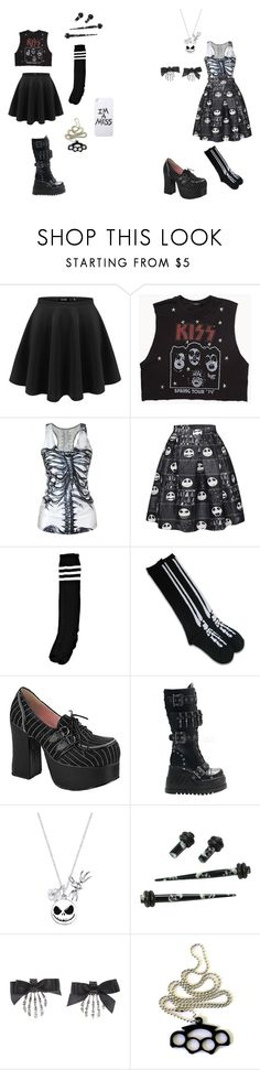 """Skater Skirts"" by bandgirling13 ❤ liked on Polyvore featuring Forever 21, Chicnova Fashion, Demonia, Disney and LAUREN MOSHI"