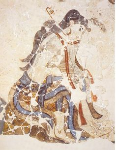 The wounded shaffron gatherer woman fresco.Girl from Xeste 3 fresco cycle Procession with wounded foot. Photograph courtesy of the Akrotiri Archive. Greek History, Ancient History, Art History, Fresco, Creta, Ancient Greek Art, Ancient Greece, Minoan Art, Bronze Age Civilization
