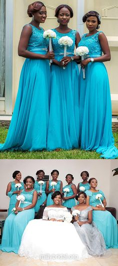 Blue Bridesmaid Dresses Long, Cheap Bridesmaid Dresses Modest, Scoop Neck Chiffon Sweep Train Beading Bridesmaid Dresses Unique