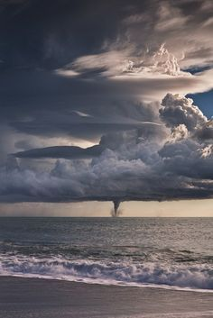 The real size of a tornado. Well this tiny little thIng is actually a waterspout, the tornado's waterbound skinny little brother; but it can morph into a damaging tornado itself if it comes ashore, which they often do. All Nature, Science And Nature, Amazing Nature, Nature Water, Beautiful Sky, Beautiful World, Beautiful Places, Amazing Places, Stunningly Beautiful