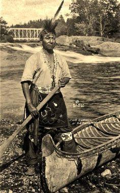 Ernest Oshkosh (a son of Neopit Oshkosh), near Keshena Falls on the Wolf River in Wisconsin - Menominee - circa 1925