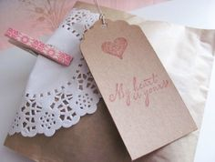 Kraft doily and clothes pin stamped packaging