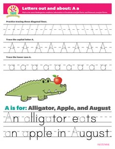 Letters out and about: A is for Apple, Alligator and August. Trace the angles of the letter first, trace the upper and lowercase letters, and then trace the letters in a sentence.