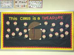 Classroom Bulletin Board Diy. We cute out the faces and the words and little swords with a Cricut. And then I traced out the treasure chest  took folders and just made a triangle for the edges. To write the names on the swords I took a chalkboard marker. And just stapled it all up! Totally cute and super fun.