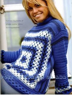 Transcendent Crochet a Solid Granny Square Ideas. Inconceivable Crochet a Solid Granny Square Ideas. Crochet Jumper, Crochet Coat, Crochet Jacket, Crochet Blouse, Crochet Clothes, Crochet Pullover Pattern, Granny Square Crochet Pattern, Crochet Squares, Crochet Granny
