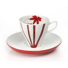 Mikasa Pure Red Espresso Cup and Saucer: The striking Pure Red celebrates an exotic maple leaf in graphic silhouettes and brilliant colors. Coffee Cups And Saucers, Cup And Saucer Set, Espresso Cups, Espresso Coffee, Coffee Mugs, Red Dinnerware, Match Making, Fine China, Tea Pots