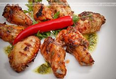 Skrzydełka na grila Grilled Chicken, Tandoori Chicken, Photo Grill, Yummy Food, Tasty, Chicken Wings, Food And Drink, Stuffed Peppers, Snacks