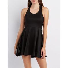 Charlotte Russe Lattice-Back Skater Dress ($29) ❤ liked on Polyvore featuring dresses, black, flared dresses, flare skater dress, scoop neck skater dress, scoop-neck dresses and charlotte russe