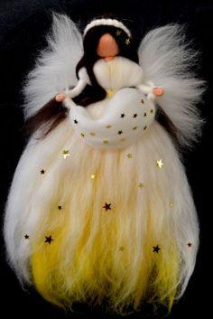 XL STERNENELFE FEE Märchenwolle Waldorf DEKO Christmas Fairy, Felt Christmas, Christmas Angels, Felted Wool Crafts, Felt Crafts, Needle Felted Animals, Felt Animals, Felt Ball Rug, Felt Angel