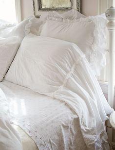 Ruffle pillow cases, muslin bedding, white ruffled pillow sham. I like the long cases.