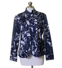 Coldwater Creek Navy Blue White Floral Cotton Stretch Open Front Jacket Size PXL