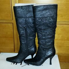 Mixit Knee High Black Boots NWT, Leather upper, balance man-made Comes with original box. Make me an offer. Mixit Shoes