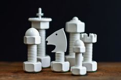 Classic Tool Chess Set: These 32 handsome chess pieces are handcrafted out of everyday hardware pieces and are given powder coating for a beautiful finish.