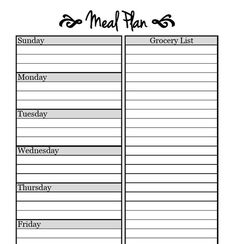 Printable Meal Planning Templates To Simplify Your Life  Meals