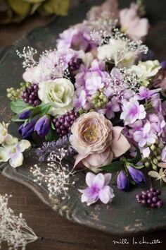 パープルライラックとカスミソウのヘッドドレス 花冠 corolla#garland#wreath