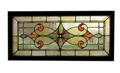 Transom Window With Green and Orange Accents 50″ wide x 22.25″ tall