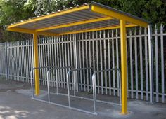 Design and build cycle bike bicycle shelters and canopies Narrow Shed, Cycle Shelters, Bike Shelter, Bike Cover, Backyard Landscaping, Landscaping Ideas, Bike Shed, Bike Parking, Bike Storage