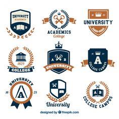 Selection of logos for college Free Vector Education Logo Design, Education Icon, Education Quotes For Teachers, Education College, Graduation Logo, Ideas Para Logos, Logo Psd, University Logo, School Logo
