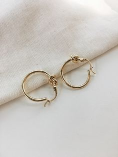Simple knot hoops in gold - www.thehexad.com