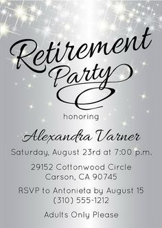 Elegant Chalkboard Retirement Party Invitation Template - Classy ...