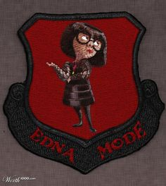 Edna Mode Patch-this would be incredible Edna E Mode, Logo Design, Graphic Design, Merit Badge, Good Movies, Pixar, Nerdy, Patches, Illustration Art