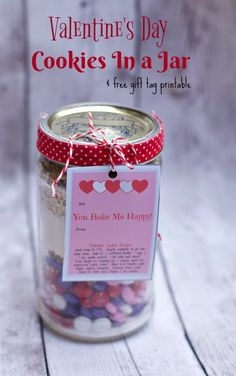 Simply Layered Cookies In a Jar-Valentine's Day Gift Idea plus download a free valentines Gift Tag Printable