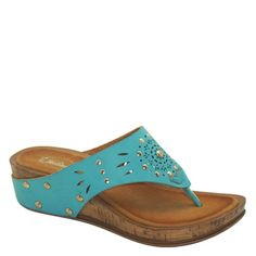 Brand New Brieten Studded Cut out Thong Flip Flop Platform Wedge Sandals 8 Turquoise >>> Continue to the product at the image link.
