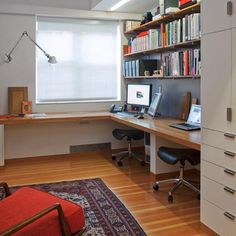 Uncluttered, warm and a feeling of space. home office for two, interior design ideas