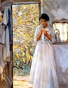 White Knitting. Helen Galloway McNicoll (14 December 1879 – 27 June 1915) was a Canadian impressionist painter. — Products shown: Dutch Knits, 1635-1969 by Constance Willems at www.knitdesign.com