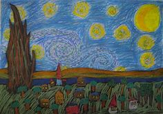 van gogh's starry night. two part project. The landscape is made on different dark paper cut and glues to the oil pasteled and painted sky.