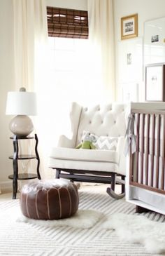 I like the color scheme. And the tufted rocker. Don't need the crib!