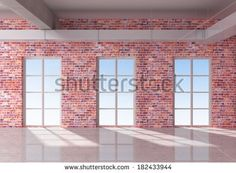 Red Brick Wall Loft | Windows Of A Brick Stock Photos, Illustrations, and Vector Art