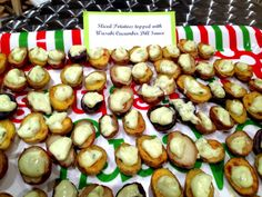 Sliced Potatoes topped with Wasabi Cucumber Dill Sauce       ***Wasabi Cucumber Dill Sauce can be found at Mary Sherwood Lake Living