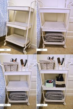 bathroom organization tips... Maybe keep in bedroom with getting ready supplies??