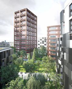 LAN . EURONANTES complex . NANTES  (4) Lan Architecture, Jpg, Facade, Multi Story Building, Relax, Urban, Landscape, Thesis, Rendering Architecture