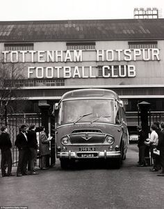 Here's a picture of the Tottenham team bus leaving the club's White Hart Lane home in 1962. This was a golden period in their history, with Spurs winning a league and cup Double in 1961, the FA Cup in 1962 and then the European Cup-Winners' Cup in 1963