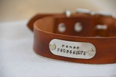 Personalized Leather Dog Collar with Handstamp Metal Name Plate Dog Tag Handmade Leather Dog Collar