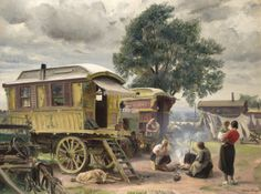 Gypsy Caravan. by Dame Laura Knight