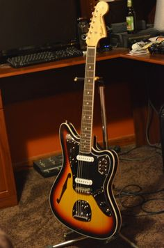 Fender thinline Jaguar, semi hollowbody, from Fender Japan Fender Thinline, Fender Guitars, Guitar Amp, Cool Guitar, Fender Jaguar, Cool Electric Guitars, Music Instruments, Cool Stuff, Bicycles