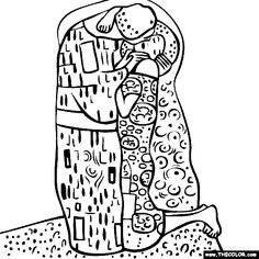 Gustav Klimt's The Kiss Coloring Page