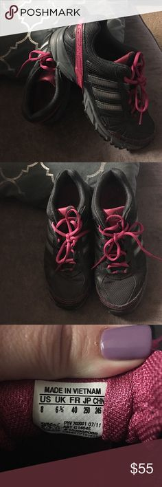 Adidas sneakers!  Great cond. very gently used! These have only been worn a few times!  Great condition.  Adidas dark pink and gray sneakers!!! adidas Shoes Sneakers