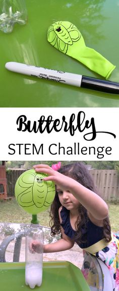 A fun STEM Challenge for Kids! Caterpillar to Butterfly Science Activity with Ba. A fun STEM Challenge for Kids! Caterpillar to Butterfly Science Activity with Balloons! See how to create your own science experiment for hours of fun. Kid Science, Science Experiments For Preschoolers, Stem Science, Preschool Science, Teaching Science, Science Lessons, Science Games, Summer Science, Science Ideas